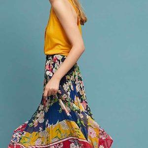 Anthropologie Leora Floral pleated skirt